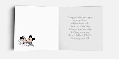 Handmade Personalised Disney Minnie /& Mickey Congratulations Engagement Card