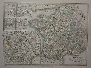 1846-SPRUNER-ANTIQUE-HISTORICAL-MAP-FRANCE-1180-1461-BATTLES-BOUVINES-CRECY