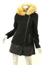 Bar Iii Black Double Zip Front Boucle Faux Fur Trim Coat M 245