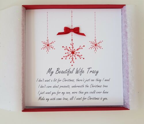 PERSONALISED CHRISTMAS CARD WIFE HUSBAND FIANCEE FIANCE **ANY COLOUR AVAILABLE**