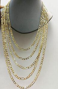 Image is loading Real-10k-Yellow-Gold-Figaro-Men-Women-Chain- eccab4e18e2a