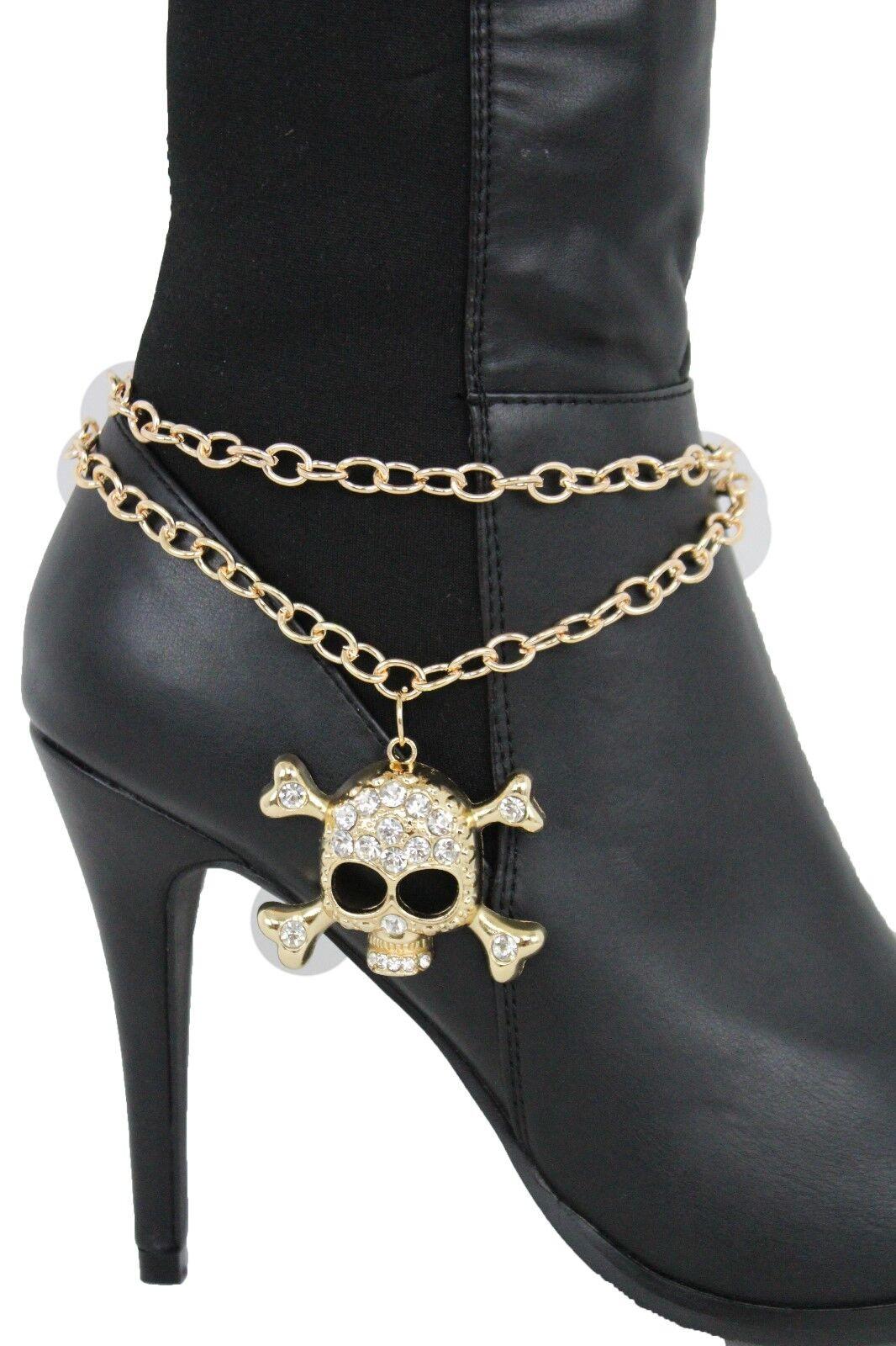 Women Fashion Boot Bracelet Gold Metal Chain Shoe Bling Skull Charm Pirate Beads