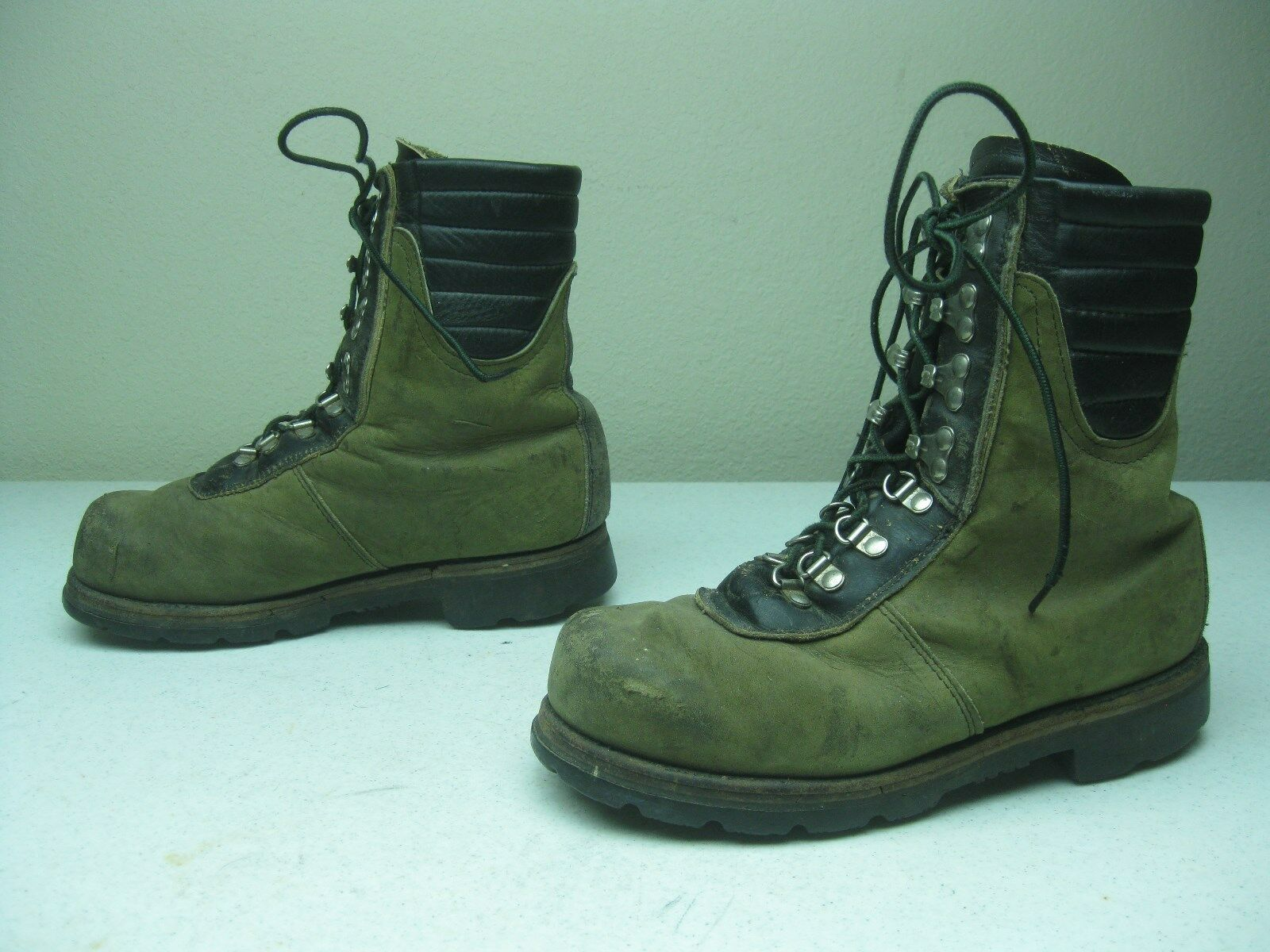GRAY GREEN LEATHER LEHIGH INSULATED STEEL TOE MADE IN USA WORK BIKER BOOTS 7.5 D