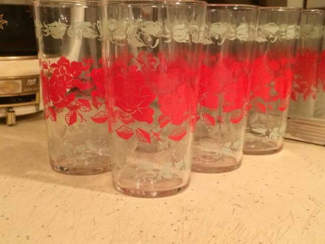 Mid century tall rose juice glass Dominon  glass company made in Canada