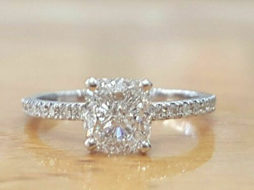 1.20Ct Cushion Cut Diamond Solitaire Engagement Wedding Ring 14K White Gold Over