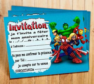 Cartes Invitation Anniversaire Avengers Par 6 Ou 12 Ebay