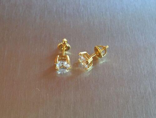 Homme Femme 0.39 Ct Lab Diamond 18K Gold Filled Vis Arrière Clous d/'oreilles 4 mm