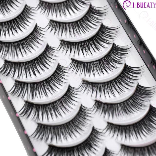 10 Pairs Natural Makeup False Eyelashes Handmade Black Long Thick Eye Lashes 033