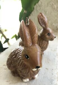 Lot-Of-2-Vintage-Wax-Brown-Bunny-Rabbit-Candles-4-5-x-2-25-x-5-034-Easter-Decor