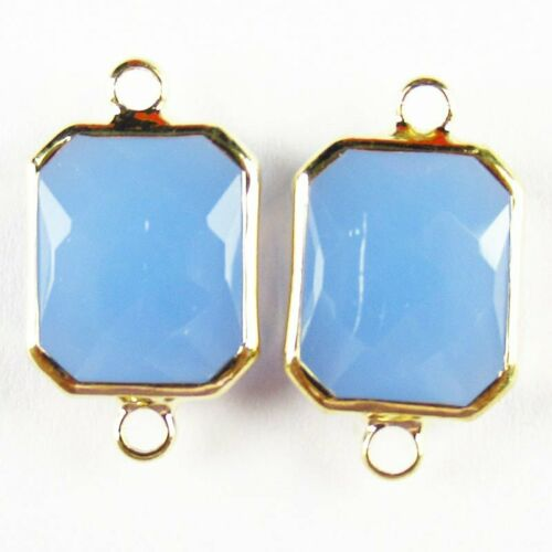 10Pcs Faceted Wrapped Blue Jade Oblong Connector Pendant Bead 107BBS