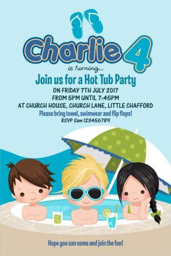 Personnalisé anniversaire Invitations Boys Hot Tub Fête x 5