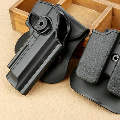 Militery Ratary Belt Holster Double Magzine Pouch Clip for Beretta 92 96 Pistols