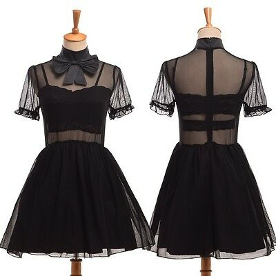Japanese Gothic Lolita Tulle Fairy Princess Bow Transparent Dress