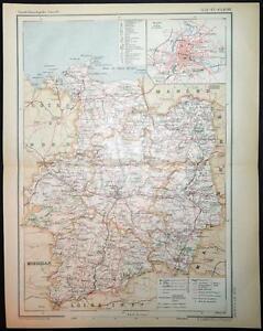 Map Of France Rennes.1894 Antique Print Colour Map Of Ille Et Vilaine Rennes France