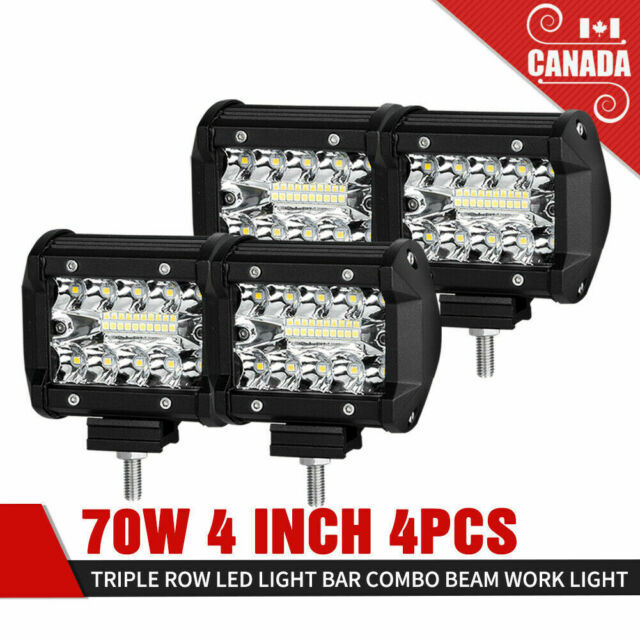 70W LED Work Light 4Pcs 4 Inch Triple Row Spot Flood Beam Offroad Driving Lights