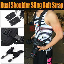 Double Dual Shoulder Neck Camera Strap Sling Belt For 2 Digital SLR DSLR Camera