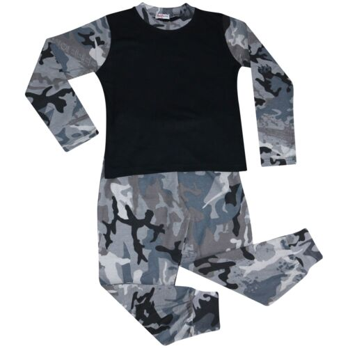 Kids Girls Boys Pjs Contrast Camouflage Charcoal Plain Stylish Pyjamas Set 2-13Y