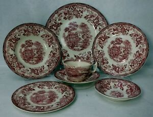 ROYAL-STAFFORDSHIRE-china-TONQUIN-RED-pattern-7-piece-Place-Setting-Fruit-Soup