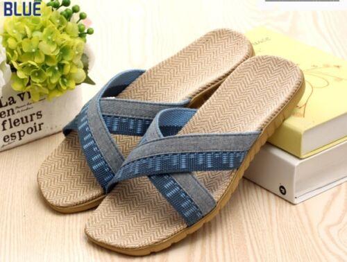 US8~11 Natural Comfortable Fine Flax Jute Sandals Slippers men,Xblue