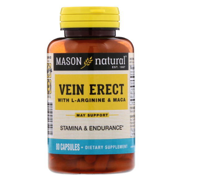 NEW MASON VITAMINS VEIN ERECT WITH L-AGININE & MACA SEXUAL HEALTH BODY DIETARY