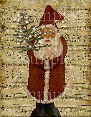 Primitive Old World Christmas Vintage Santa Claus St Nick Laser Print 8x10