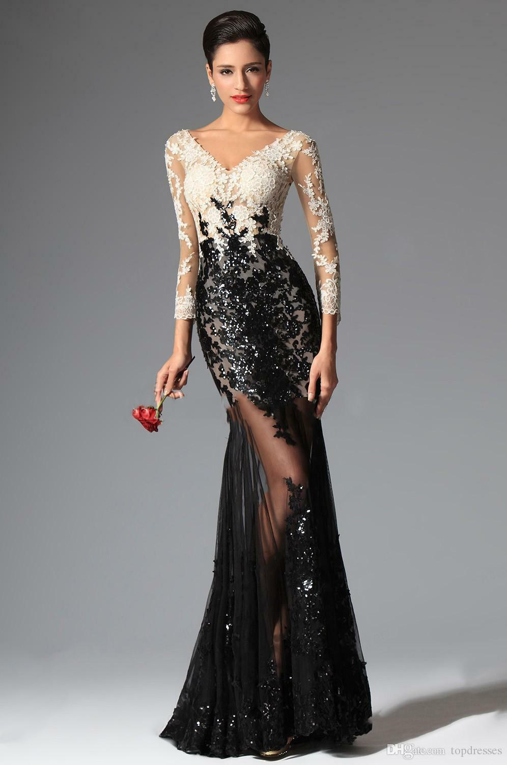 2018 Sexy Sheer Lace Evening Dresses Sequins Dress Mermaid Long Sleeve party