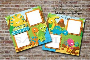 Baby-Shower-Dinosaur-Blue-2-PRINTED-Premade-Scrapbook-Pages-BLJgraves-17