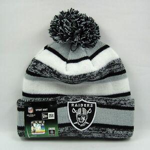 325e6e150d7 New Era Men s NFL Oakland Raiders Team Snowfall Winter Knit Bobble ...