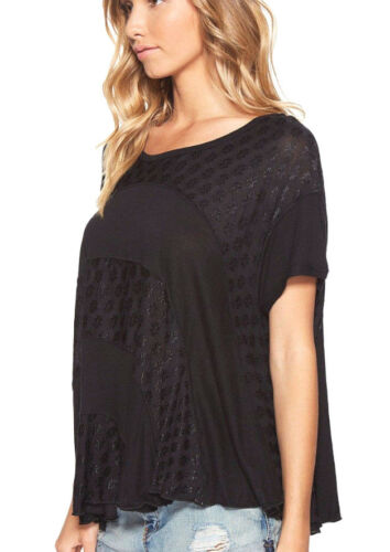 Free People OB586888 Anything and Everything Short Sleeve Solid Boxy Top Black