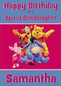 Bourriquet Tigrou Winnie L Ourson Personnalise A5 Carte D Anniversaire Fille Niece Nom Ebay