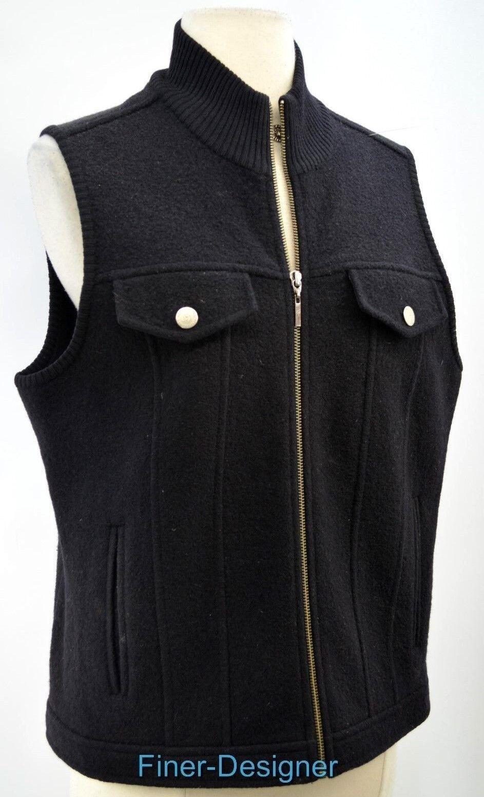 REAL CLOTHES SAKS FIFTH AVENUE Vest knit boiled wool sleeveless sleeveless sleeveless zip coat M VTG 5ad42d