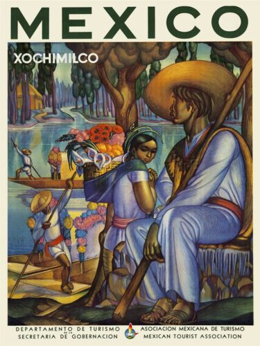 ART PRINT POSTER TRAVEL TOURISM MEXICO JUNGLE RIVER BOAT FLOWERS NOFL1214