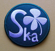 NORTHERN SOUL SKA MUSIC SEW ON / IRON ON PATCH:- SKA (a) GREEN FOUR LEAF CLOVER