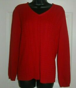 Talbots Women/'s Sweater M Red Cable Knit Pullover V-Neck Long Sleeve Cotton