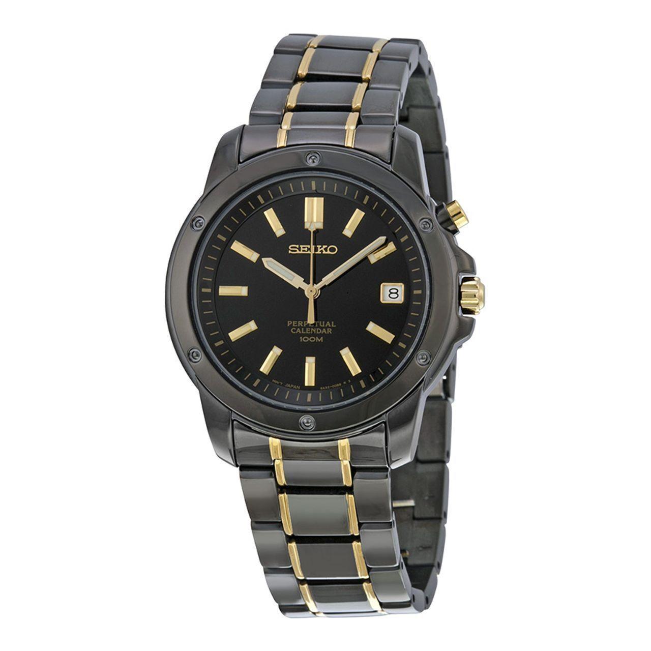 Seiko Perpetual Calendar.Seiko Men S Snq045 Perpetual Calendar 100m Black Tone Luminous Hands Date Watch