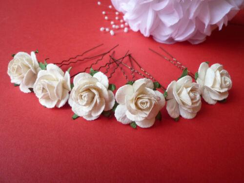 6 GRANDI 25mm Rosa Capelli Pin Grip Fiore Matrimonio Damigelle ACCESSORI