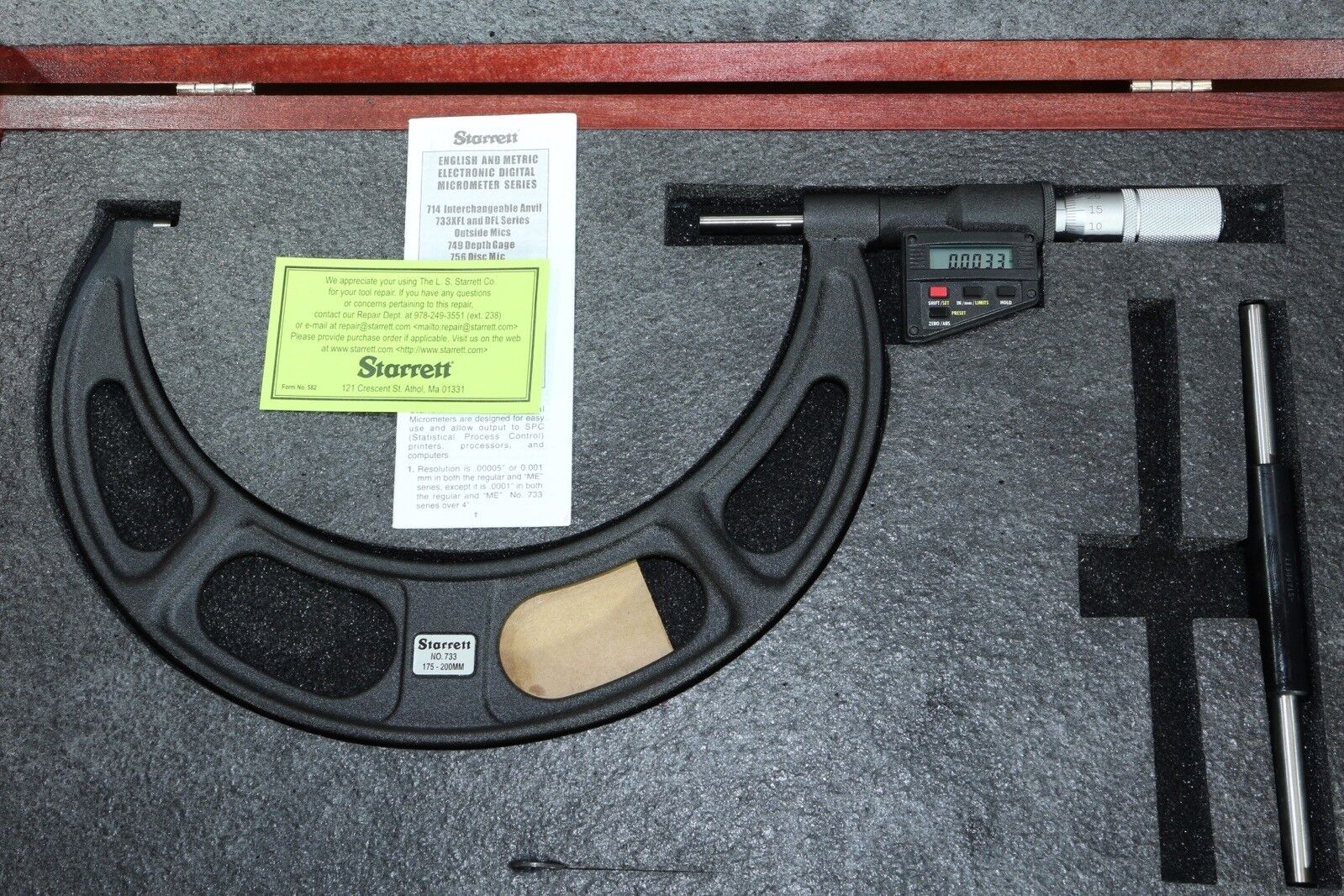 """Shars 0-1/"""" DIGITAL READOUT DIGIT COUTNER OUTISDE MICROMETER 0.0001/"""" CARBIDE NEW"""