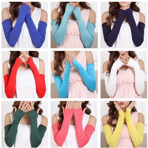 Candy Color  Women Girl Arm Comfortable Cotton Long Fingerless Gloves
