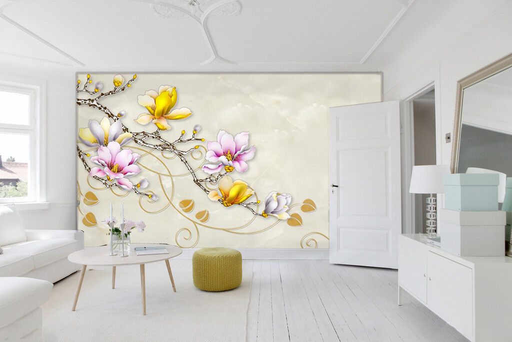 3D Peach branches 323 Wall Paper Wall Print Decal Wall Deco Indoor Wall Murals