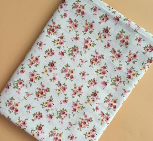 Vintage Floral Printing Pattern Cloth Natural Cotton Linen Fabric Sewing craft