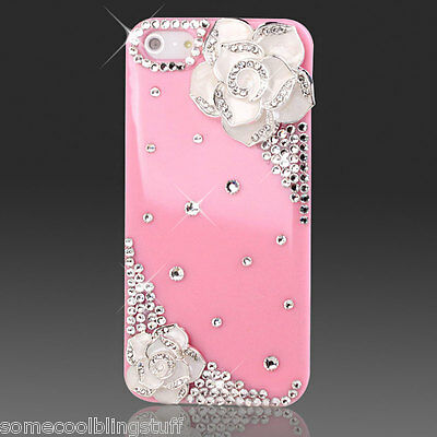 BLING DELUX WHITE PINK BLACK FLOWER DIAMANTE SPARKLE CASE COVER FOR IPHONE 6 6s