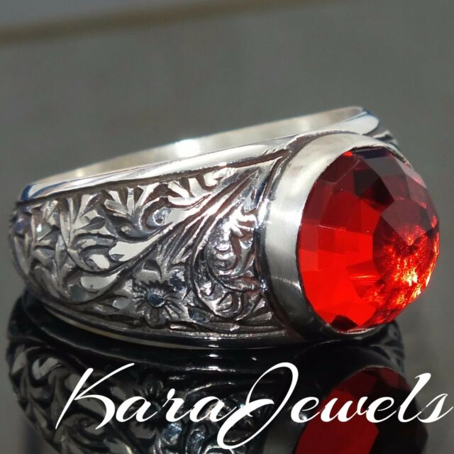 Mens ring 925 Sterling Silver red Garnet Unique handmade Jewelry free resizing