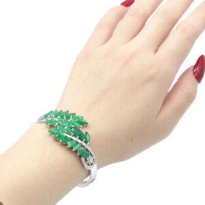 "59x29mm Eye Catching Real Green Emerald CZ Women Silver Bangle Bracelet 7.5"""
