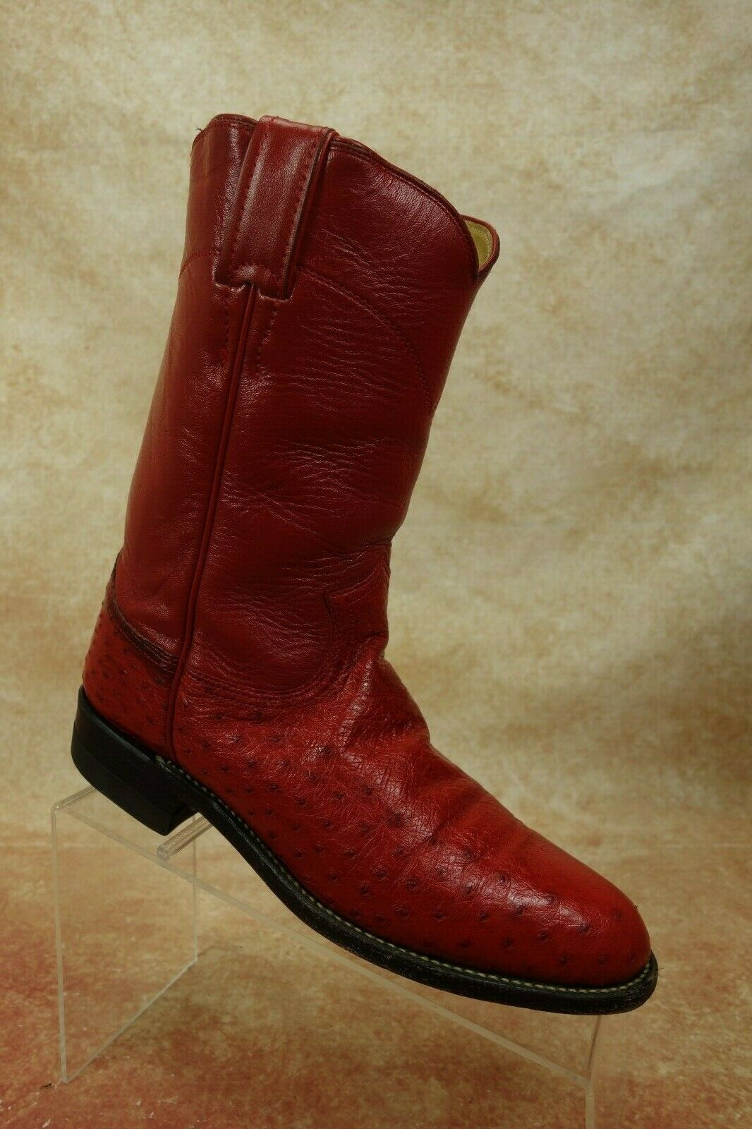 Justin rosso Smooth Ostrich Leather Pull On Western Roper Cowgirl stivali donna 7C