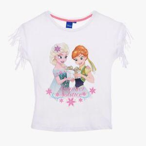 DISNEY-t-shirt-LA-REINE-DES-NEIGES-5-6-ou-8-ans-blanc-franges-epaules-NEUF