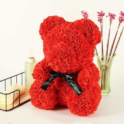 Rosenbär 40cm Handgemacht Blume Rosen Teddybär Geburtstags Valentinstag Geschenk