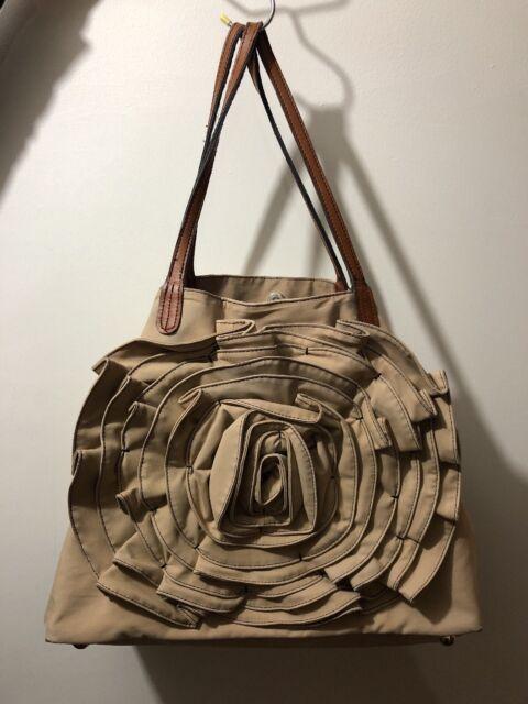 Valentino Petal Rose Tote Shoulder Bag Beige Cream Handbag