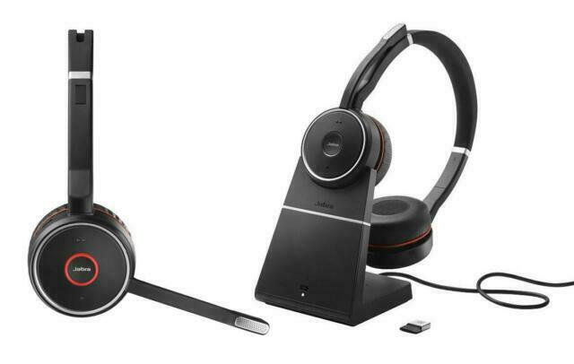 Jabra Evolve 75 Ms Stereo Binaural Headband With Charging Stand Black Red For Sale Online Ebay