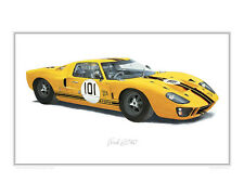 Ford GT40 - JCB colours - Limited Edition Classic Car Print Poster by Steve Dunn