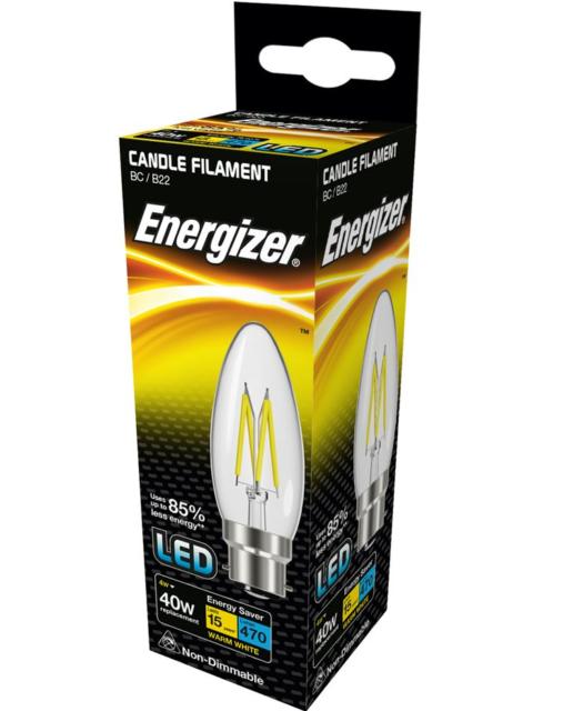 Energizer 4w (= 40w) LED Transparente Filamento Vela,Extra Cálido White (2700k)
